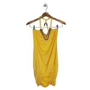 Guess Racerback Bottom Ruched Yellow Dress XS
